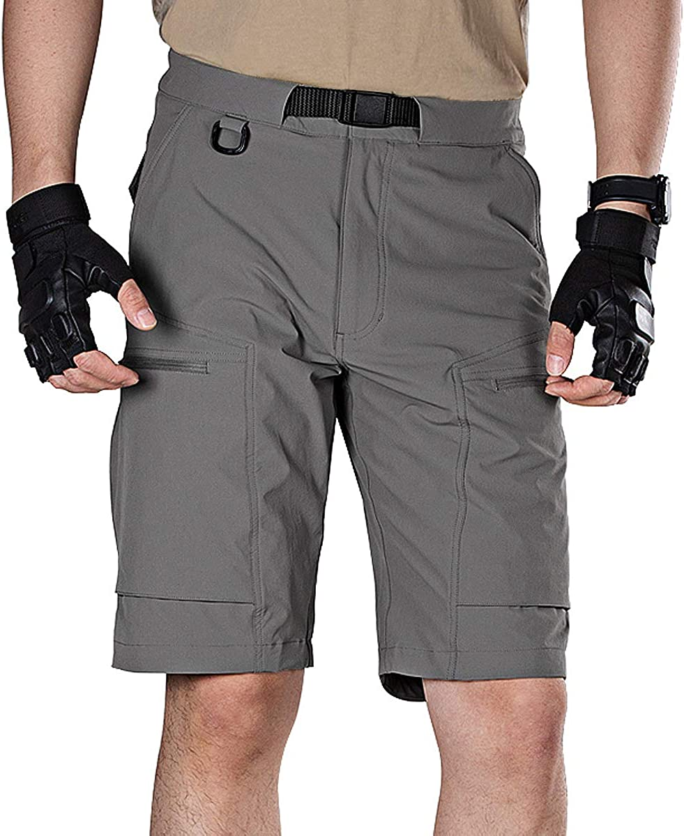 FREE SOLDIER Men's Lightweight Breathable Quick Dry Tactical Shorts Hiking Cargo Shorts Nylon Spandex (Gray 36W x 10L)