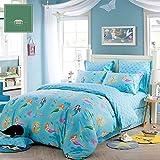 HIGOGOGO Home Textiles 100% Cotton Cartoon Soft Duvet Cover Set Beautiful Mermaid Pattern Sheet Set Wonderful Gift for Girls Full Size 4Pcs (Full, Flat sheet style)