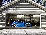 Garage Door Murals, Garage Door Cover, Full Color Banner, Outdoor Home, 3D Effect Cars, Billboard for 2 Garage Door, size 82x188 Dav144