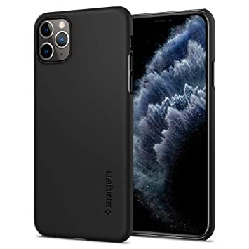 【Spigen】 iPhone 11 Pro ケース 5.8インチ 対応 超極薄 レンズ保護 超薄型 超軽量 指紋防止 マット仕上げ ワイヤレス充電対応 シン・フィット 077CS27225 (ブラック)