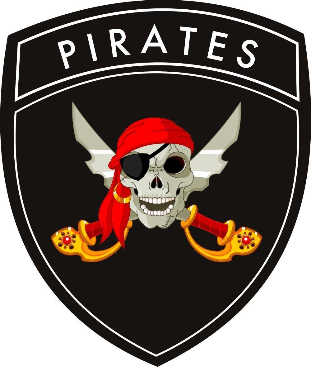 Michael Rene Pflüger Barmstedt 8 X 6 5 Wappen Kontur Autoaufkleber Pirat Mit Kopftuch Säbel Skull Totenkopf Sticker Fürs Auto Motorrad Piratenaufkleber Auto