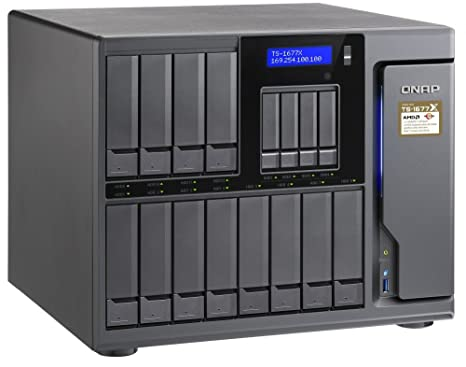 QNAP TS-1677X-1700-16G-US 12 (+4) Bay High-Capacity 10GbE iSCSI NAS, AMD  Ryzen 7 1700 8-core 3 0GHz, 16GB RAM, SATA6G, 4 x 1GbE, 2 x 10GbE (Base-T,