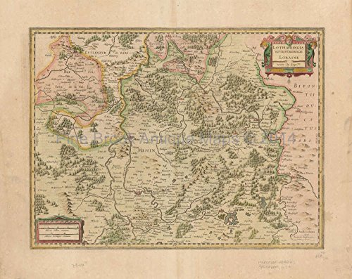 Metz Nancy Saarbrucken France Antique Map Mercator - Hondius 1636 French Country Home Decor Ideas (Map Mercator Antique)