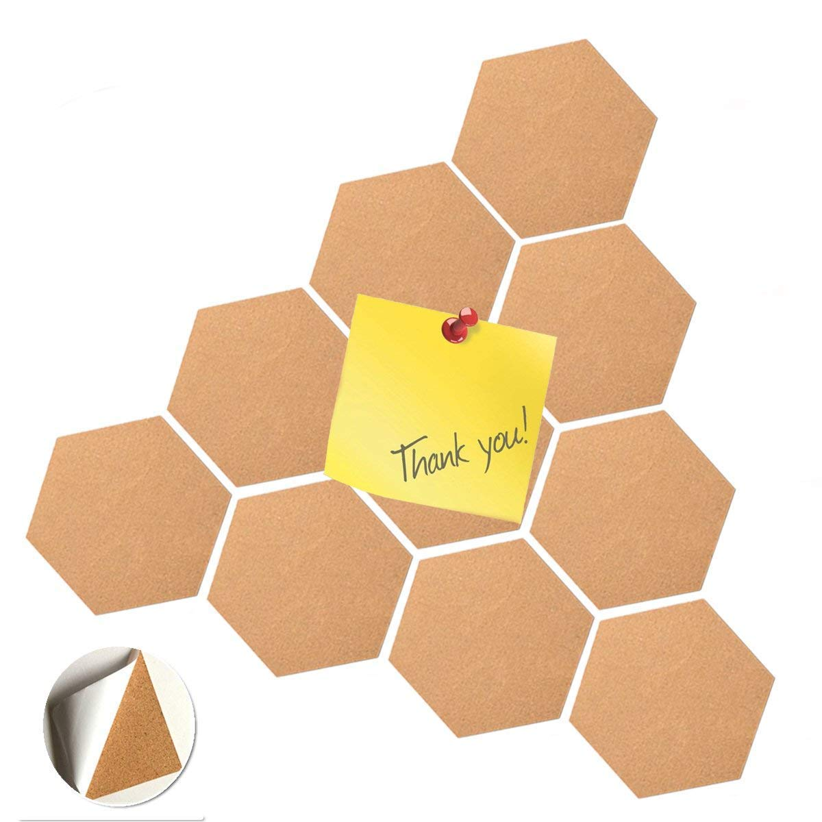 Amazon.com : 10 Pcs Hexagon Bulletin Cork Board Adhesive Wood Pins ...