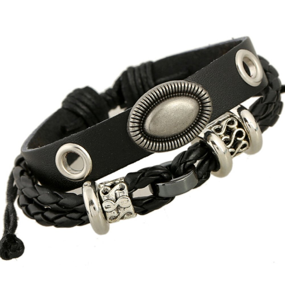 TEMEGO Jewelry Mens Womens Alloy Genuine Leather Braided Surfer Bangle Wrap Bracelet, Adjustable Fits 7-12 Inch, Black Silver