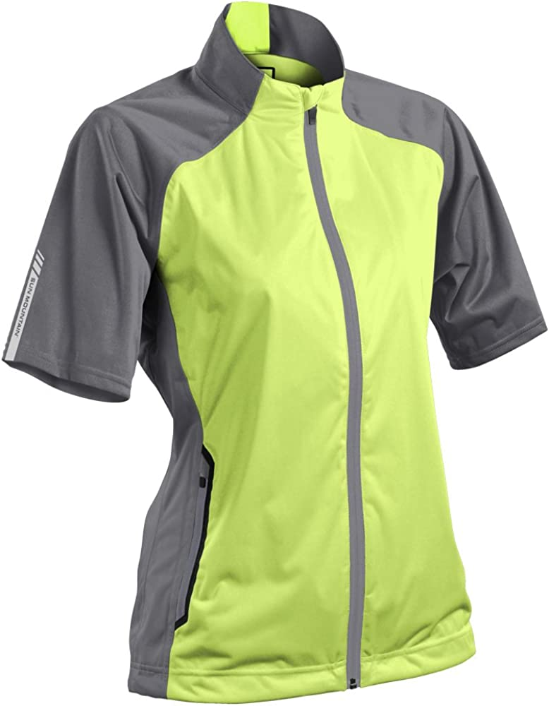 Sun Mountain 2016 Womens Rainflex Short Sleeve Pullover G660817 Lime//Gray X-Large