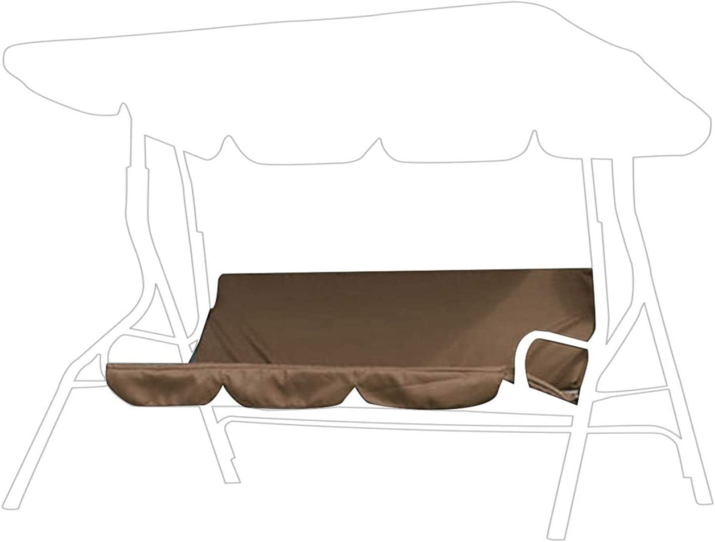 Jenngaoo Patio Swing Cushion Cover, Waterproof Swing Hammock 3‑Seat Cushion Cover Benc-h Cushion Covers Chair Protection for Courtyard Garden Outdoor - 150x50x10cm(Brown)