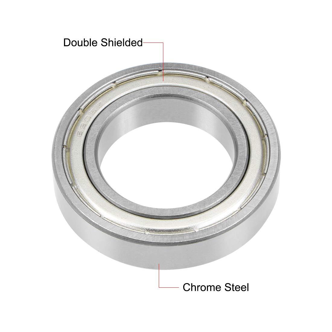 sourcing map Rodamientos de bolas de ranura profunda 6702-2RS rodamientos de acero cromado sellado doble de 15x21x4mm