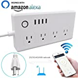 WiFi Smart Power Strip Socket with Alexa,Weton Multi-Plug Timer Switch Power Strip Outlet Surge Protector with 4 AC Outlets 4 USB Port Remote Control Via Free App for IOS/Android Smart Phone/Tablets