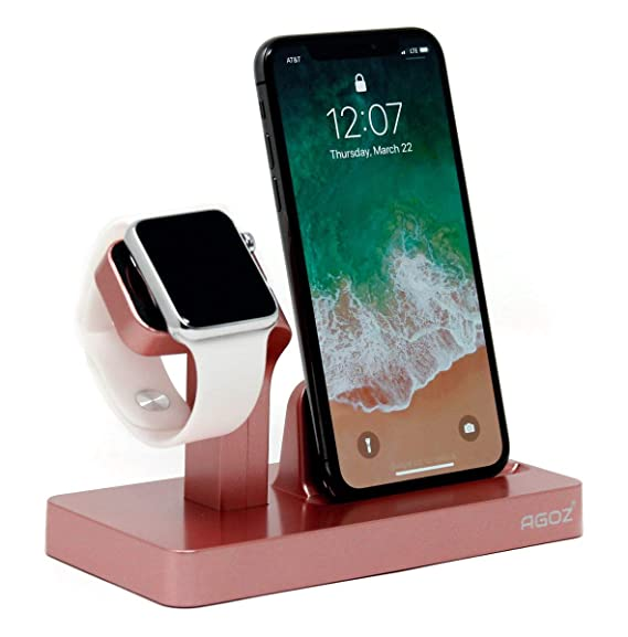 Agoz Apple Watch iPhone 2in1 Stand Charging Station Charger Dock Station for Apple Watch Series 4 3/2/1/Nike+,iPhone Xs MAX/XR/X / 8/8 Plus / 7/7 Plus ...