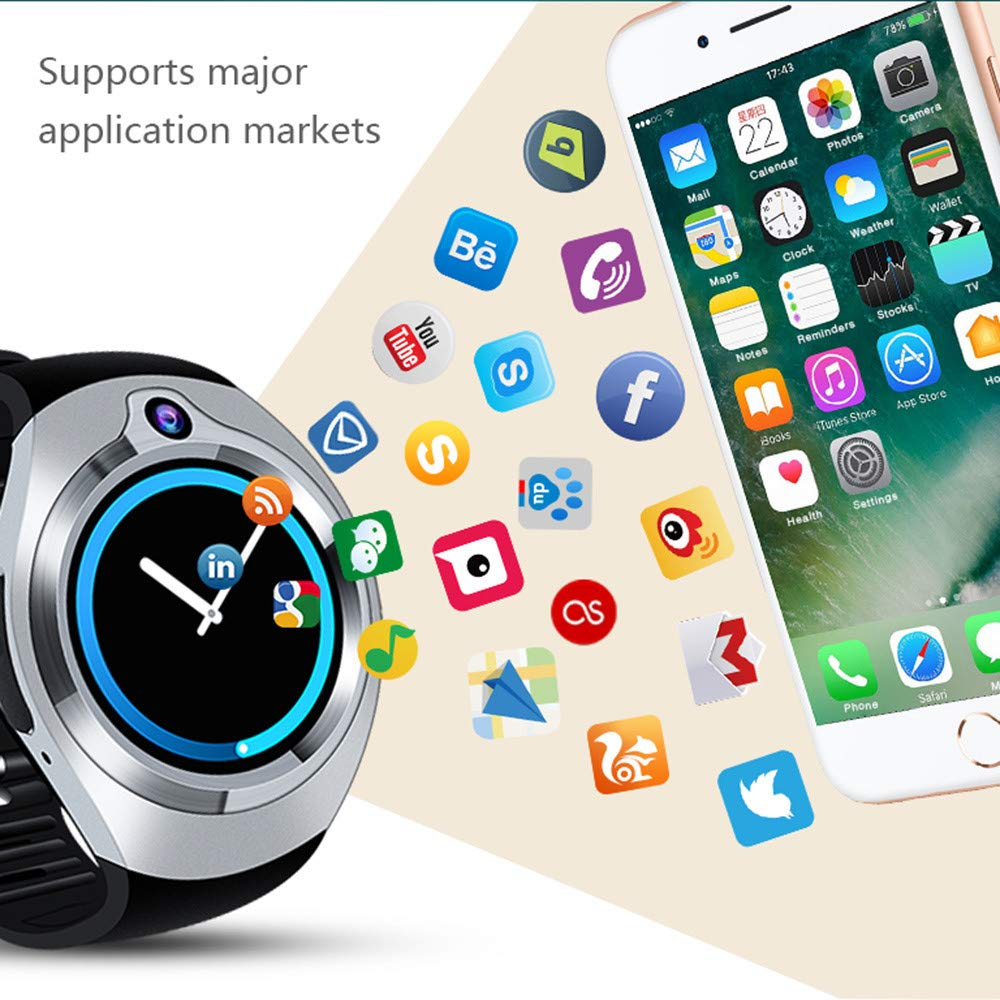 Cywulin Smart Watch Fitness Tracker, Multi-Function Smart Band Bracelet IP67 Waterproof Android Quad Core 5.1 3G LTE, Camera, GPS, WiFi, Heart Rate Monitor for iOS Android Men Women (512M+8G, Silver) by Cywulin (Image #1)