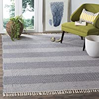 Safavieh Montauk Collection MTK330B Handmade Flatweave Ivory and Navy Cotton Area Rug (8' x 10')