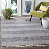Safavieh Montauk Collection MTK330B Handmade Flatweave Ivory and Navy Cotton Area Rug (6' x 9')
