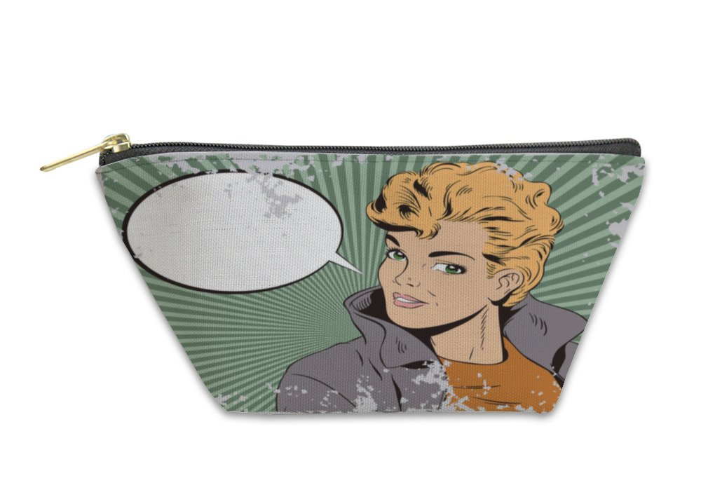 Gear New Accessory Zipper Pouch, People In Retro Style Beautiful Girl In Jacket, Large, 6039868GN by Gear New