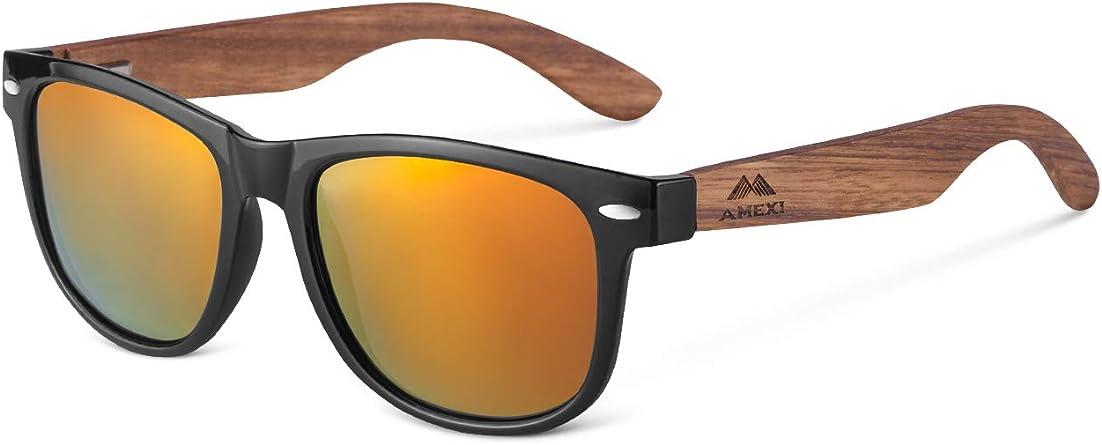 Amexi Gafas de sol de madera para hombres y mujeres polarizadas UV400 CAT 3 CE con estuche, tela y bolsa (amarillo): Amazon.es: Ropa y accesorios