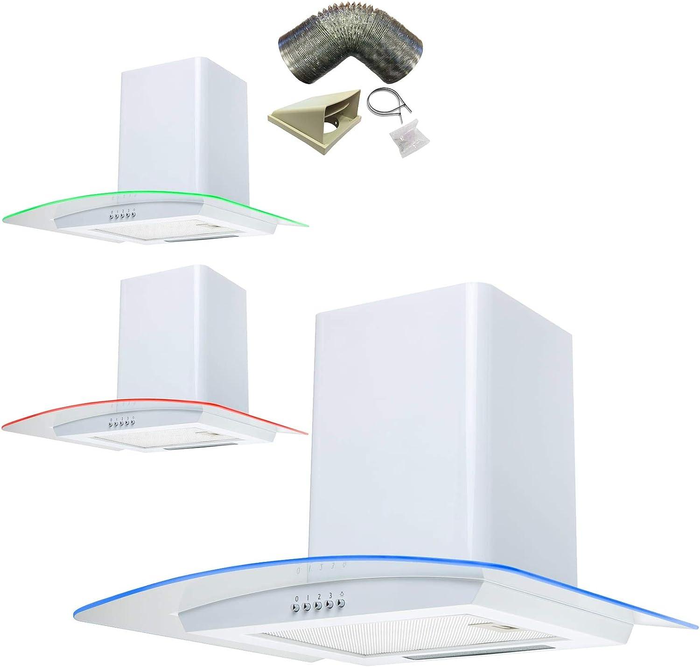 Sia cpe71wh 70 cm 3 Color LED blanco ventilador Extractor de campana + 3 M juego de conductos: Amazon.es: Grandes electrodomésticos
