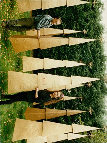Vintage photo of Gold-coloured metal Christmas trees