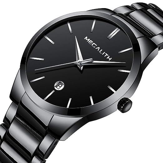 ... Lujo Moda Impermeable Fecha Calendario Analogicos Cuarzo Reloj Deportivos Diseño Simple Dial Negro con Gratis Removedor de Enlaces: Amazon.es: Relojes