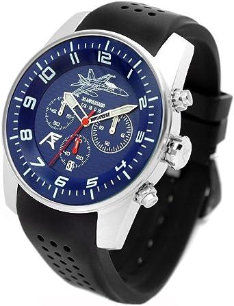 Reloj AVIADOR AV-1204 - Reloj piloto Hombre WR 5 ATM, Edición Especial 30 Aniversario Caza F-18 Ejército del Aire de España, Caja Acero quirurgico 44 mm: Amazon.es: Relojes