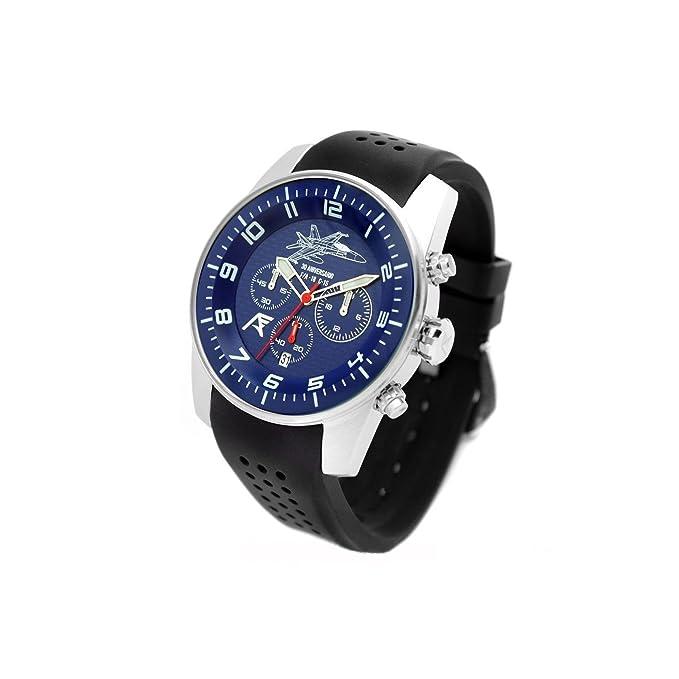 Reloj AVIADOR AV-1204 - Reloj piloto Hombre WR 5 ATM, Edición Especial 30 Aniversario Caza F-18 Ejército del Aire de España, Caja Acero quirurgico 44 mm: ...