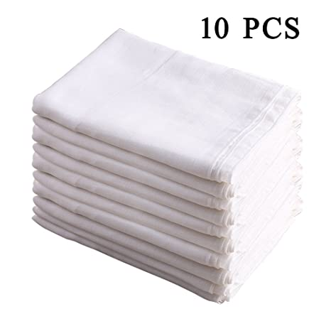 100% algodón doble gasa Burp Cloth Prefold Pañales Cover Blanco 10 Count 52x70 cm por
