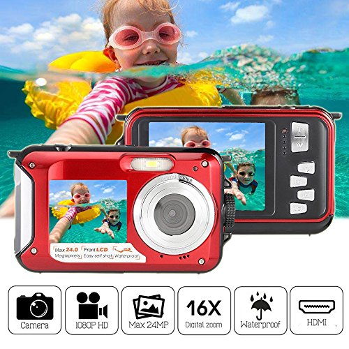 Underwater Camera Waterproof Digital Camera 24MP Dual Screen Diving Sports Cam 16X Zoom 1920x1080 Full HD Camera Mini Superior Video Camcorder with Smile Capture Anti-shake Function