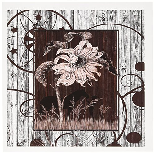 3dRose Western horse and cowgirl silhouette with vintage sunflower and white-washed barn wood - Greeting Cards, 6 x 6 inches, set of 12 (gc_150189_2)