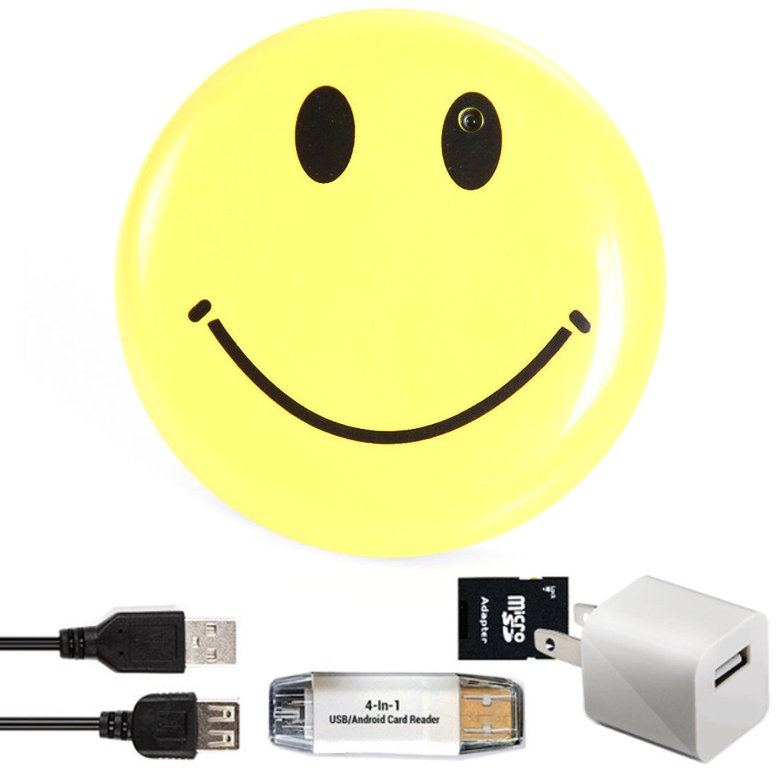 Smiley Face Body Camera & DVR- Wearable Surveillance Cam - Includes Bonus SD Card Adapter, 4-In-1 Card Reader & USB Wall Charger – Features Video, Photo, PC Webcam and More - Satisfaction Guarantee