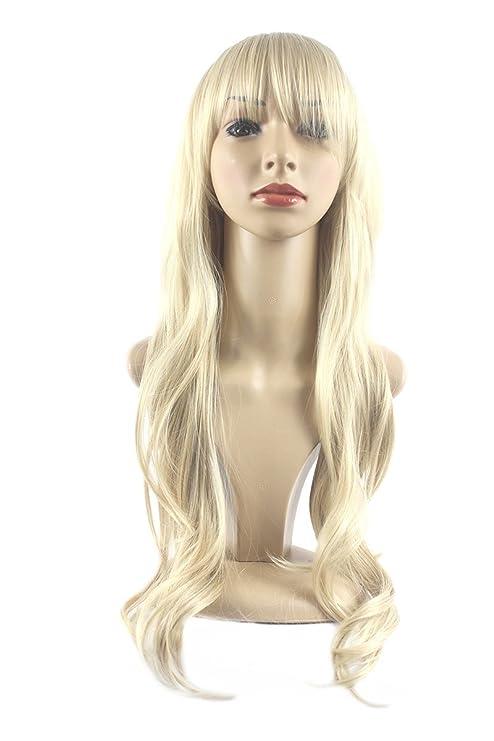 Xiaoyu hermoso largo rizado mujeres peluca - oro claro