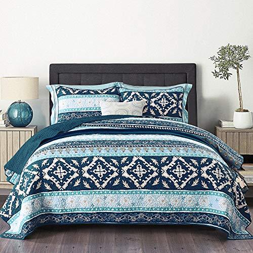 NEWLAKE Cotton Bedspread Quilt Sets-Reversible Patchwork Coverlet Set, Boho Chic Pattern,King Size (King Size Cotton Quilt)