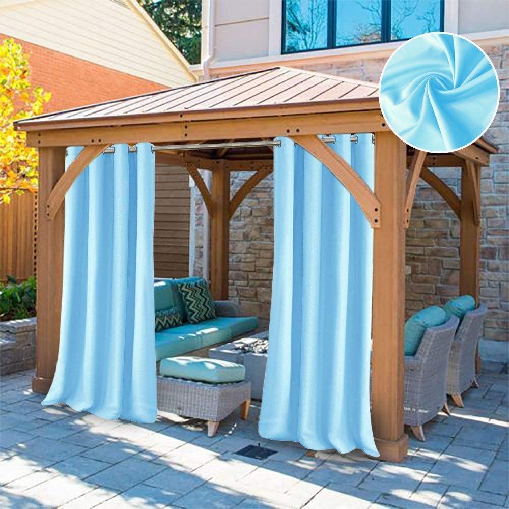 DOMDIL-Cortina de Luces Exterior, Cortinas Opacas Impermeables para Pérgolas de Jardín Antimoho, Ideal para Gazebo de Playa, Ojales Silenciadores, 1 Pieza, 132x245 cm, Color Azul Claro: Amazon.es: Jardín