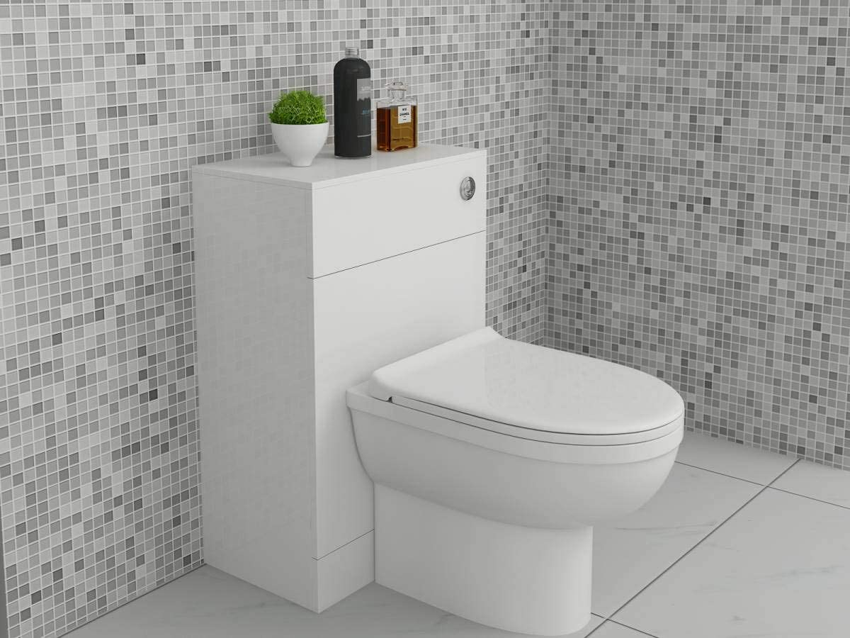 600 x 300mm VeeBath Linx Complete High Gloss White Bathroom Toilet Furniture Set with D-Shaped Pan Seat and Cistern