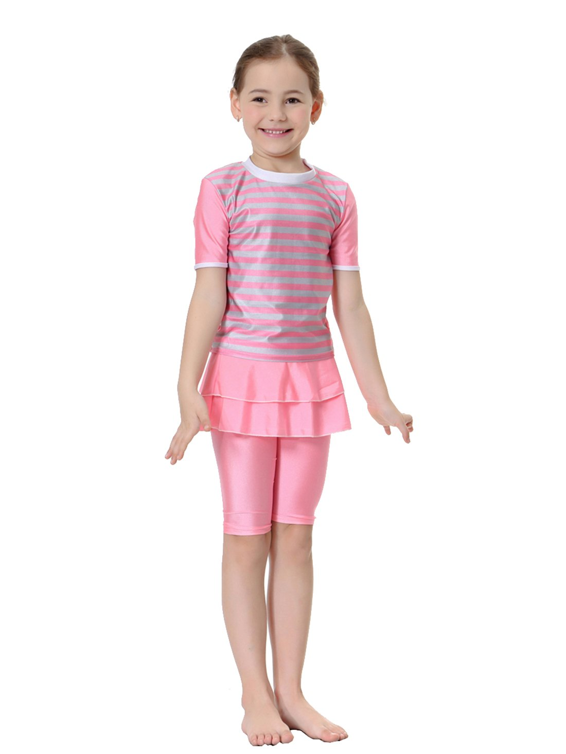 GladThink Girls Muslim 2-Pieces Swimsuit Short Sleeve