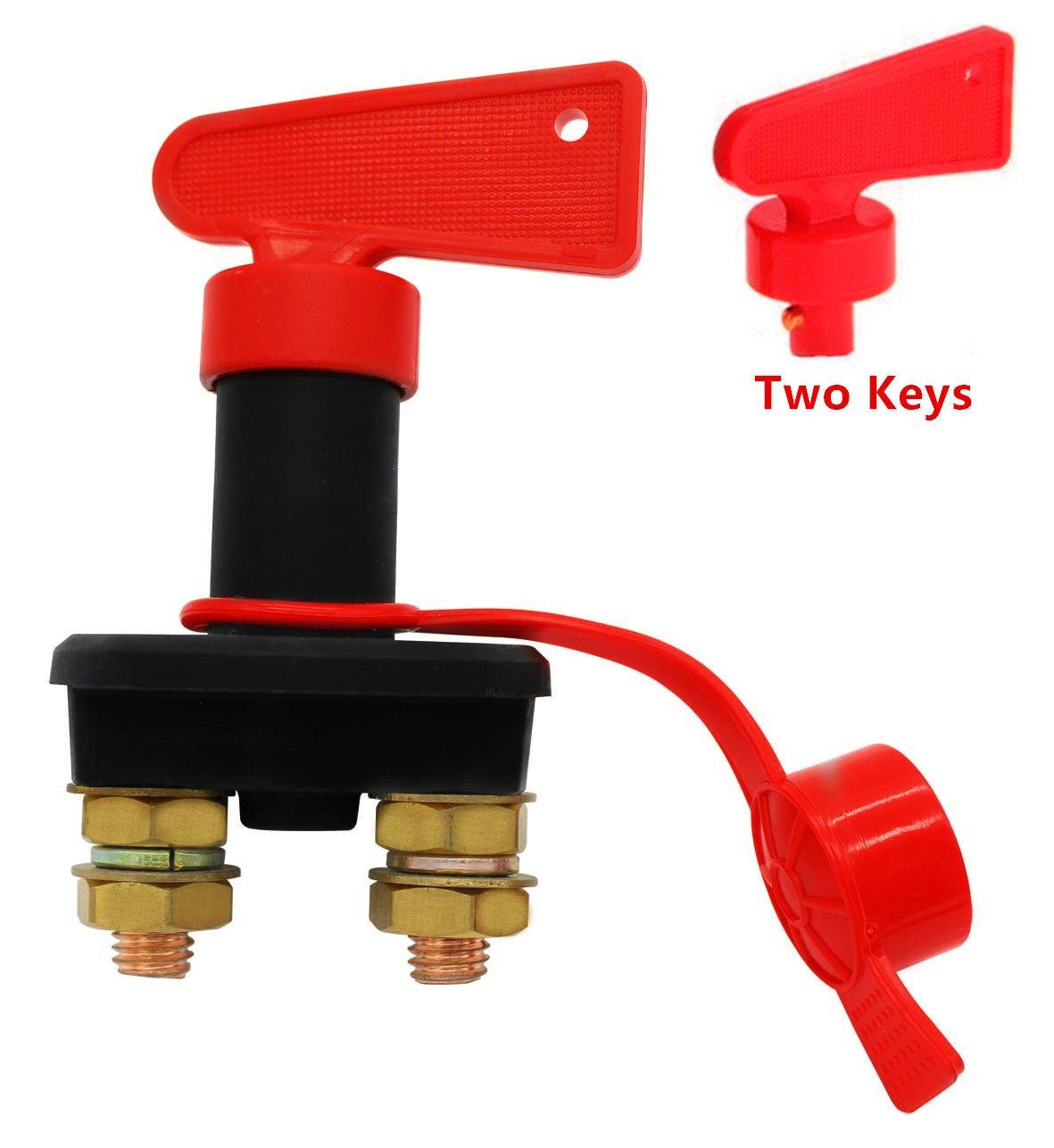 SeeKool Sezionatore di batteria veicolo Auto auto camion barca scollegare Cut Off con chiave estraibile (nero + rosso)