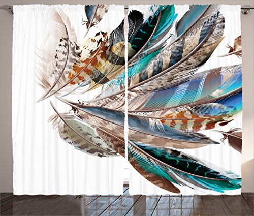 Ambesonne Feathers Curtains, Vaned Types and Natal Contour Flight Bird Feathers and Animal Skin Element Print, Living Room Bedroom Window Drapes 2 Panel Set, 108