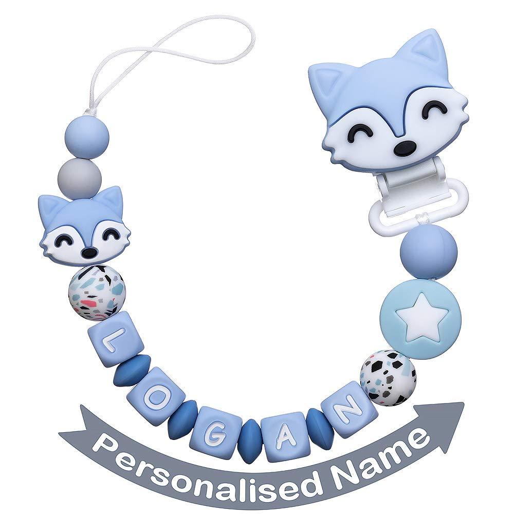 Schnullerkette mit Namen Junge Schnuller Clip Personalisierte Silikon Perlen Bei/ßring Zahnen BPA Frei f/ür Babys Fuchs Blau