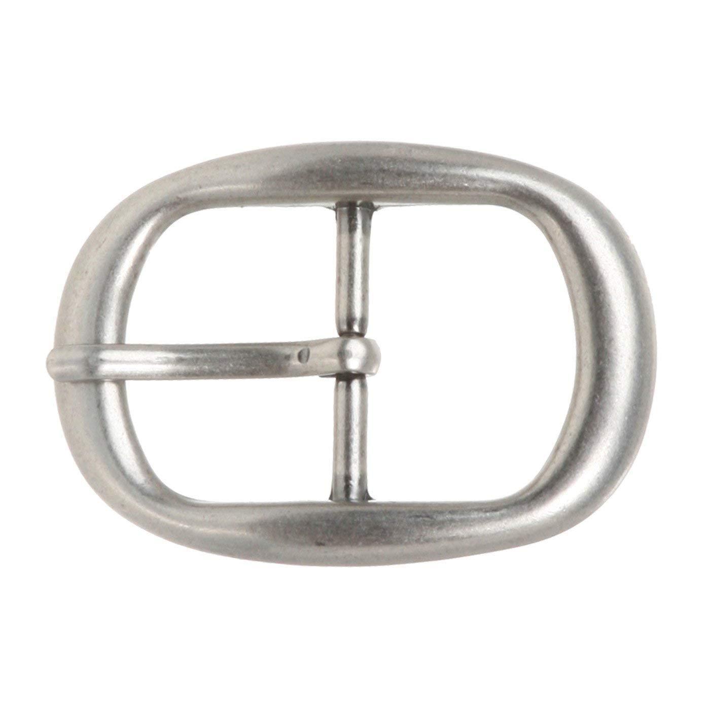 BBBelts Men Antique Silver Single Prong Center Bar Oval Buckle For 1-1//4 Belts