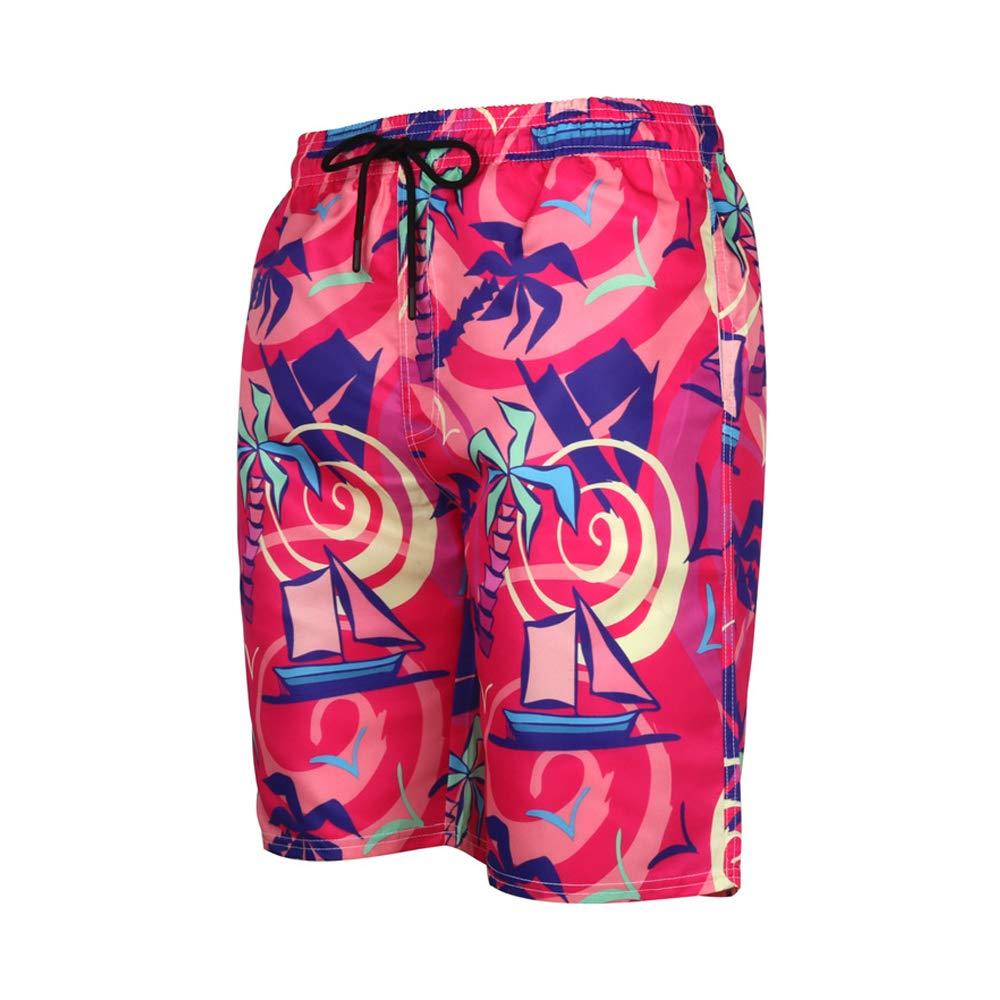 Mens Cool Swimtrunks Quick Dry 3D Printed Casual Hawaiian Mesh Lining Beach Board Shorts