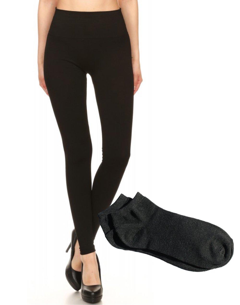 ShoSho Women's Sexy Everyday High Waisted Seamless Body Shaping Form Fitting Leggings w/FREE Socks (Black w/FREE Socks, S/M)