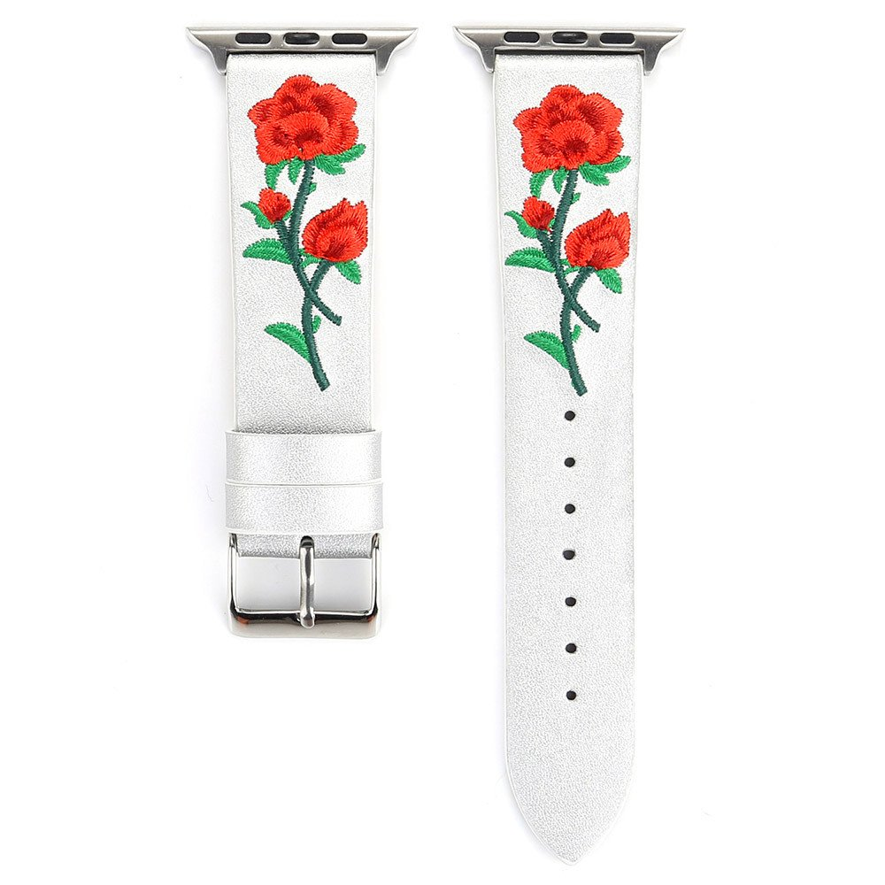 Lovewe iWatch Leather Band,Embroidery Flower Leather Strap Replacement Watch Band For Apple Watch Series 1/2/3 38mm (siliver)