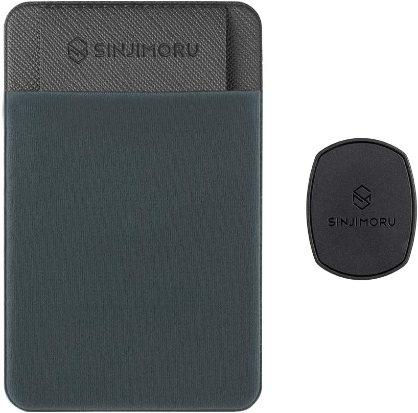 Sinjimoru Removable Cell Phone Wallet with Flap, Wireless Charging Compatible Phone Card Holder Wallet and iPhone Mount, Sinji Mount Flap Grey