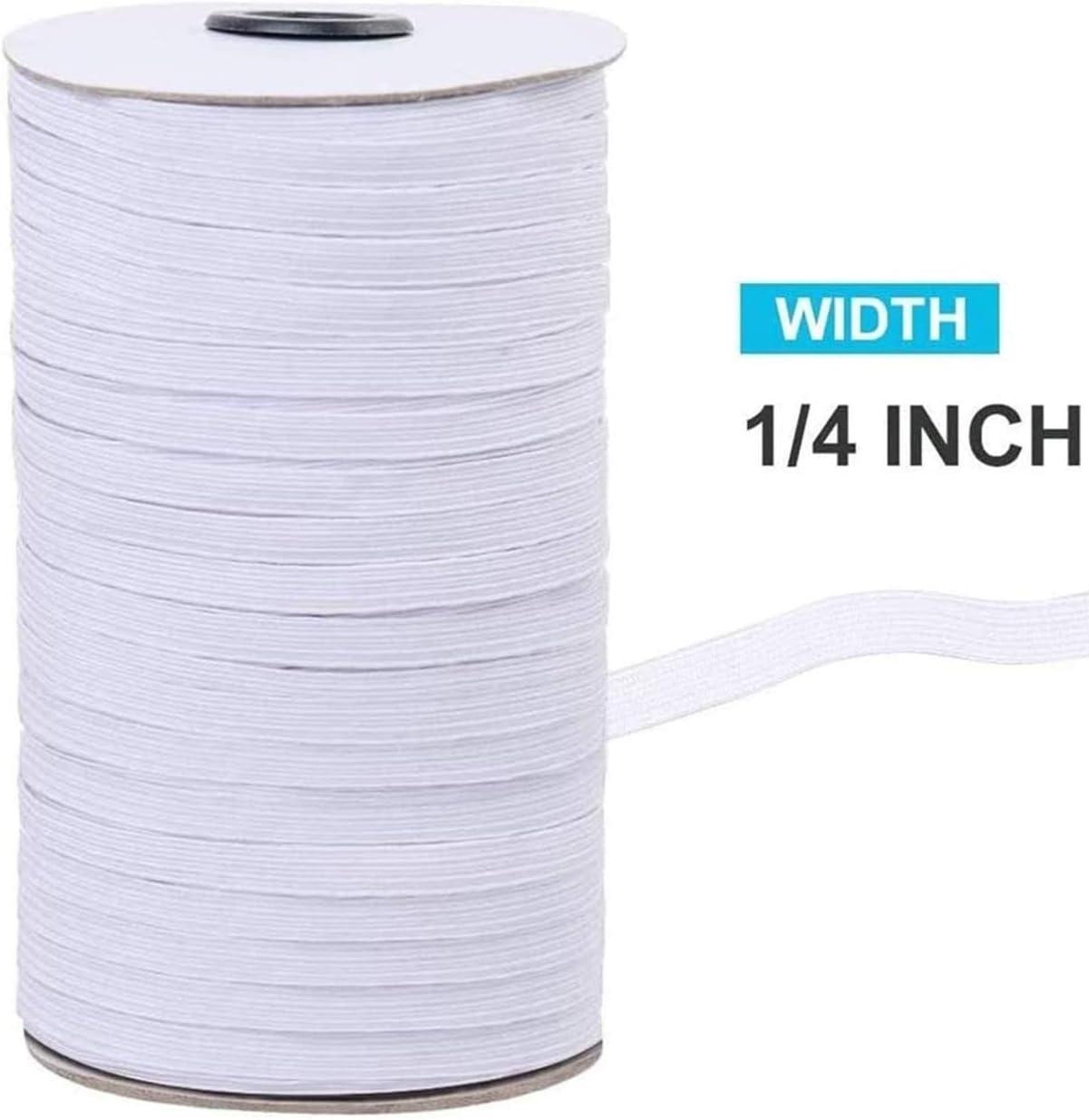 Elastic Band for Sewing Elastic Cord Braided Elastic Rope Elastic Spool Elastic String High Elasticity Knit Heavy Stretch for Sewing Crafts DIY Bedspread Cuff White, 1//4 inch 6mm 200 Yard