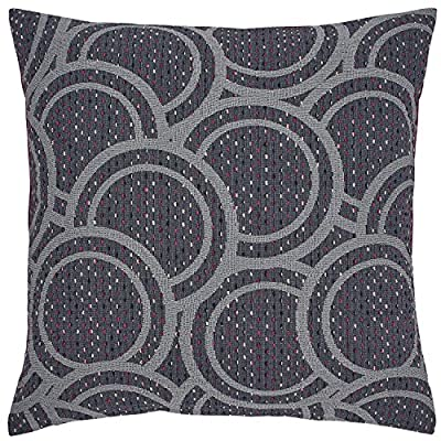 "Rivet Modern Abstract Circle Throw Pillow Cover - 20 x 20 Inch, Grey - Various tones of grey, black and ivory yarns are woven to form abstract circles on this eye-catching pillow. For a different look, it reverses to a solid purple side. This pillow will liven up a transitional or modern style bedroom. Pillow cover features hidden bottom zipper 20""L x 20""W, Pillow cover dimensions are measured from seam to seam when cover is laid flat. - living-room-soft-furnishings, living-room, decorative-pillows - 619sKfd4AlL. SS400  -"