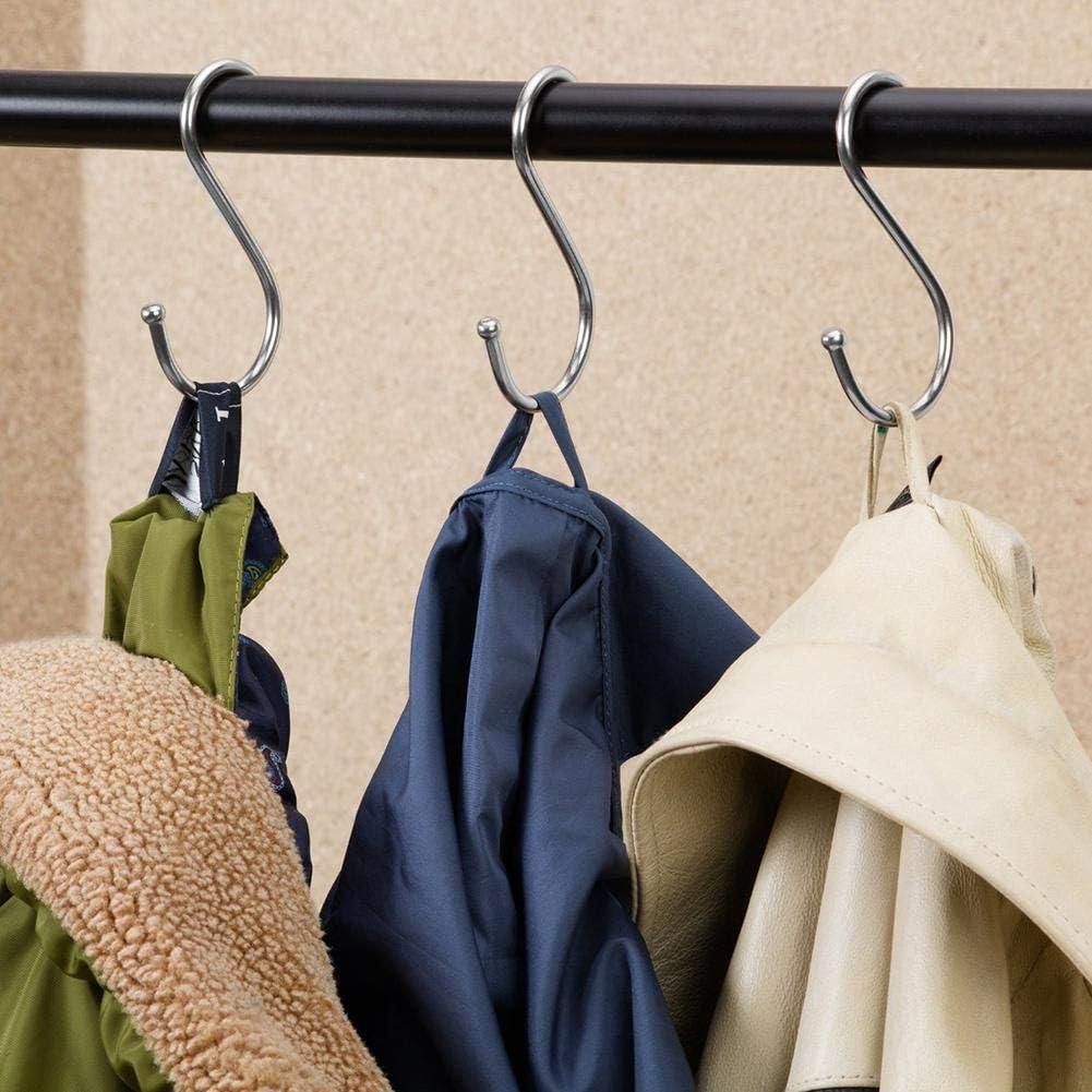 AEROBATICS 10 PCS S-Hook Stainless Steel Hook Anti-Rust Metal Clothes Hanger S-Form Haken zum Aufh/ängen Kleiderb/ügel f/ür K/üche Metall Haken Pothooks f/ür K/üche Badezimmer Schlafzimmer verwenden