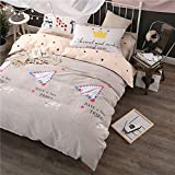 WarmGo Home Textile Bedding Sets for Adult Kids Have a Nice Day Design Duvet Cover Sets 4 Piece Full/Queen Size without Comforter