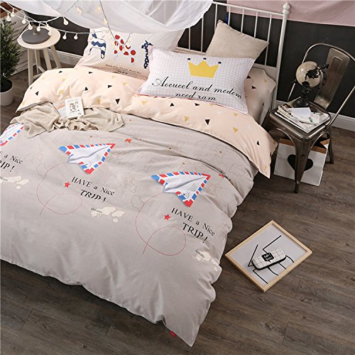 WarmGo Home Textile Bedding Sets for Adult Kids Have a Nice Day Design Duvet Cover Sets 4 Piece Full/Queen Size without Comforter by WarmGo
