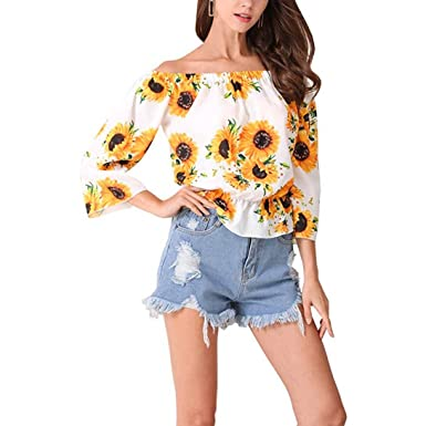 4bec5d5ed7c Fashion Womens Blouse-Han Shi Off Shoulder 3 4 Sleeve Floral Print Tops Tee