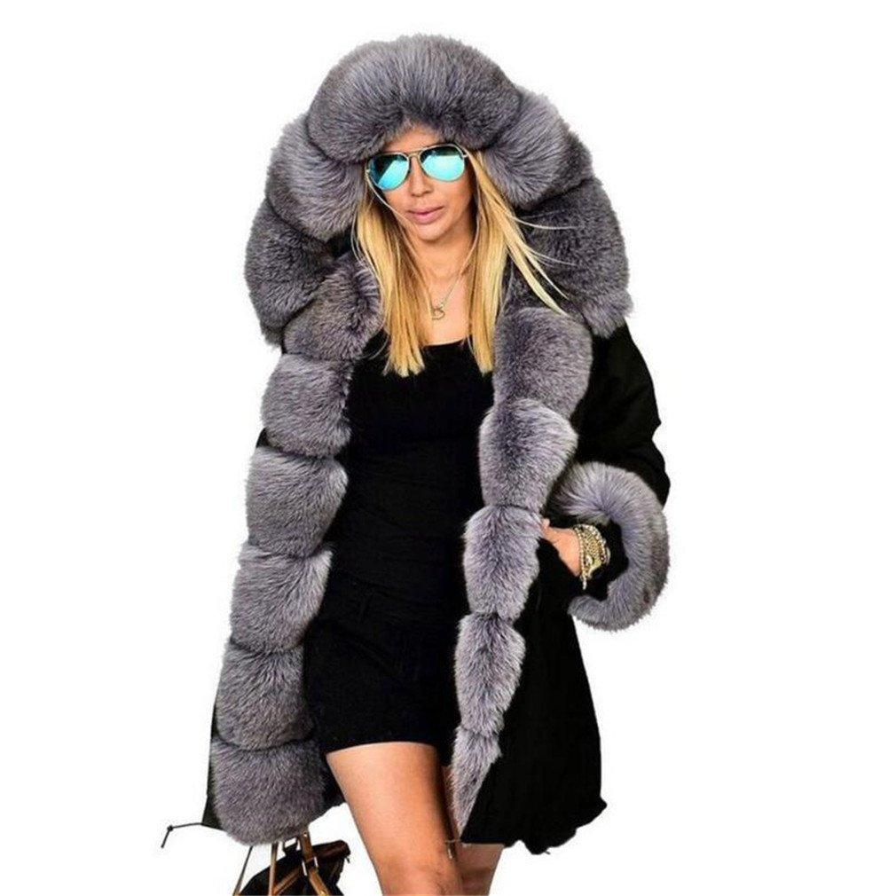 BRDTYSR Women Winter Jacket and Coat New Hooded Fur Collar Down Cotton Jakcet Gray S by BRDTYSR