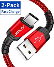 USB Type C Cable 3A Fast Charging, JSAUX(2-Pack 6.6ft+6.6ft) USB-A to USB-C Charge Braided Cord Compatible with Samsung Gala