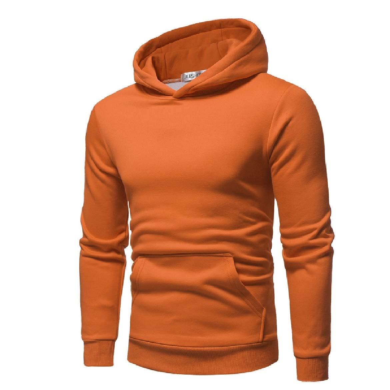 Sayah Mens Plus Velvet Hood Autumn Pure Long-Sleeve Pullover Sweatshirts